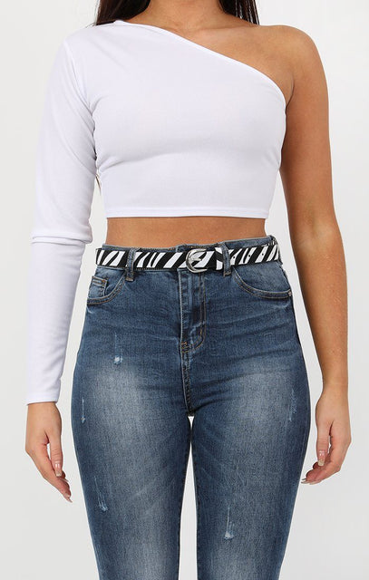 Animal Zebra Print Silver Buckle Belt - Eliza