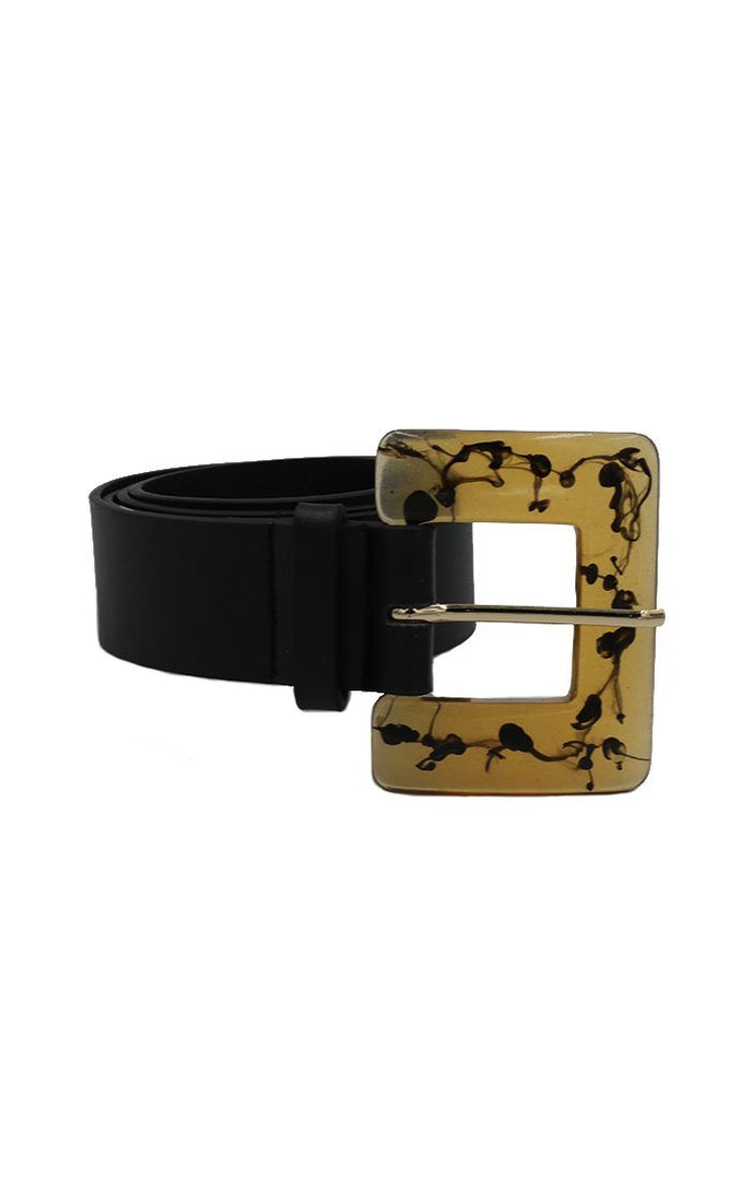 Black Resin Buckle Belt - Rochelle