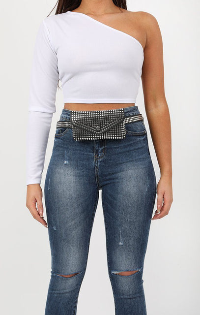 Black Stud Belt Bag - Sally
