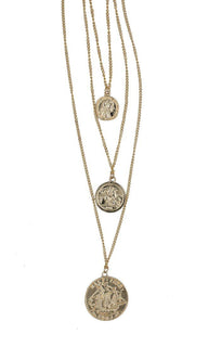 Layered Three Coins Necklace - Rose