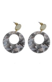Grey Multi Resin Hoop Earring - Frankie