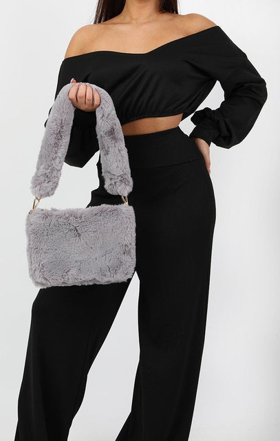 Grey Faux Fur Bag - Lexi
