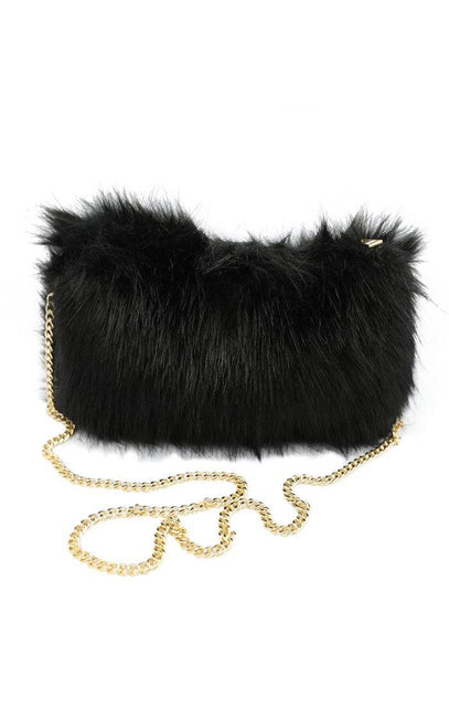 Black Fluffy Marabou Bag - Gina