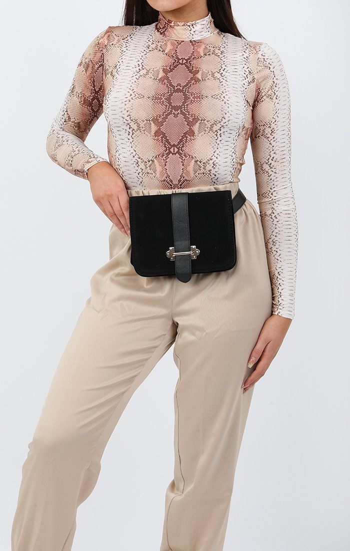 Black Velvet Buckle Belt Bag - Ellie