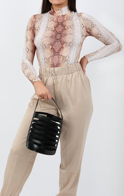 Black Laser Cut Bucket Bag - Abi
