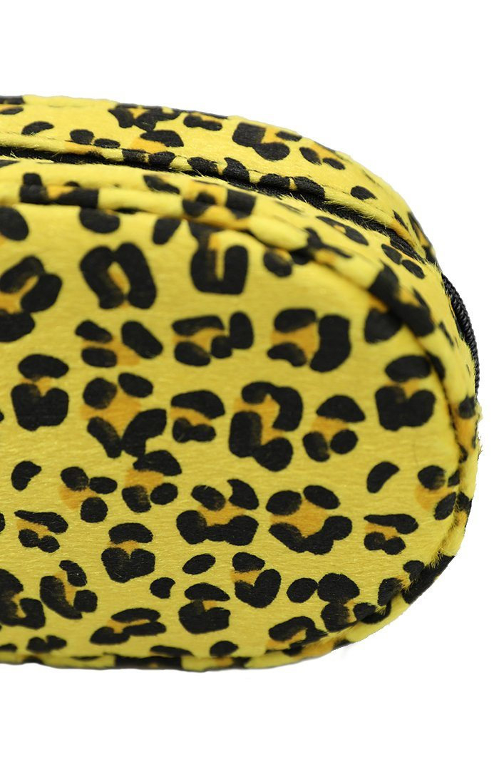 Yellow Animal Oval Faux Fur Leopard Print Belt Bag - Katelyn