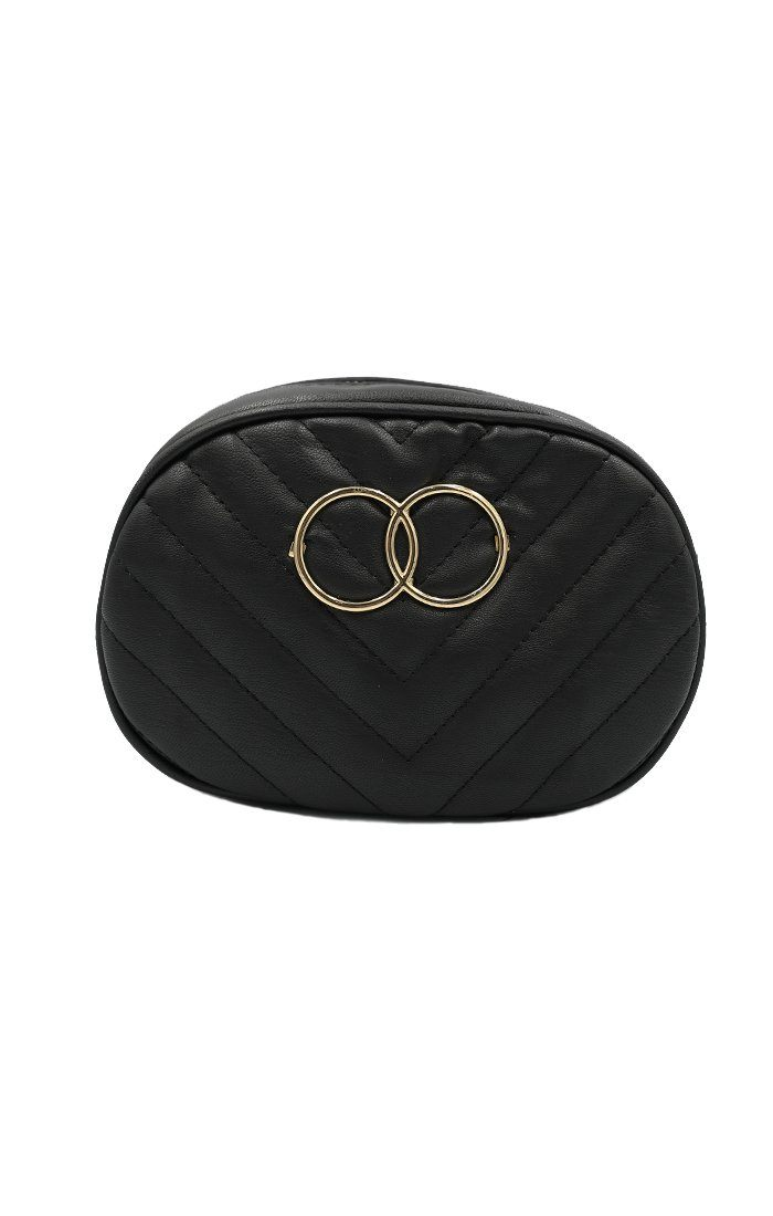 Black Double Circle Quilted Belt Bag - Emy