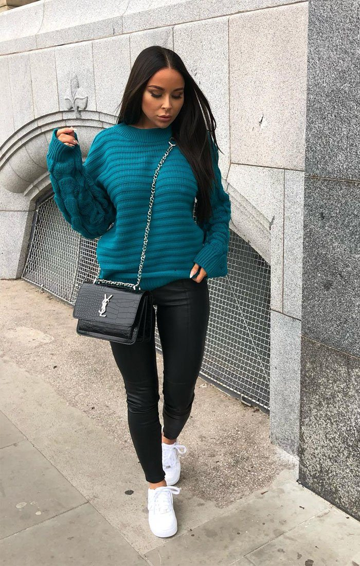 Jade Green Bobble Stitch Knitted Jumper - Sandy
