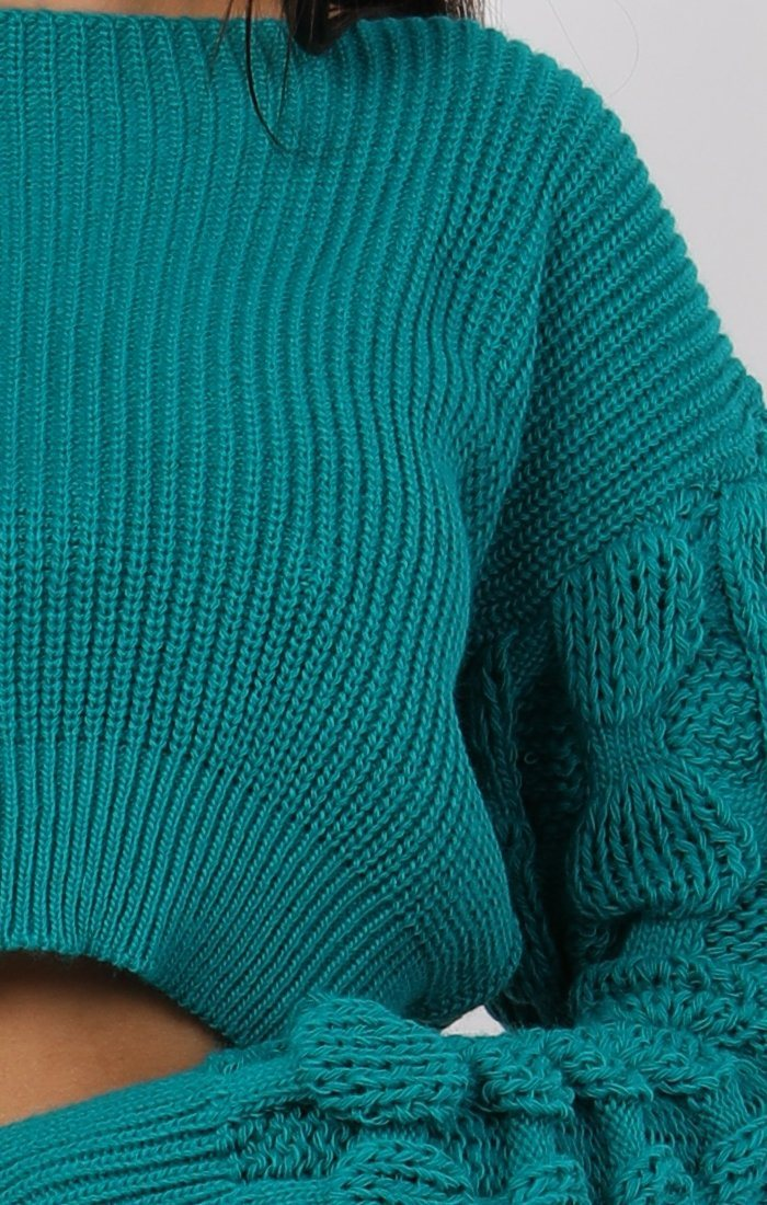 Jade Green Ribbed Bobble Stitch Knitted Jumper - Maisie