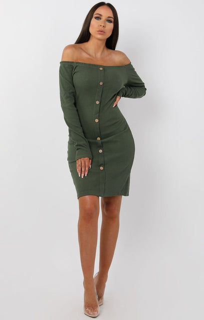 Khaki Bardot Button Front Bodycon Dress - Lyric