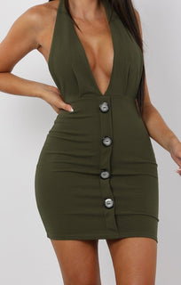 Khaki-Button-Plunge-Halterneck-Mini-Dress-Jeanie