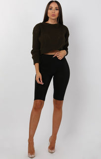 Khaki Cable Knit Cropped Jumper - Ivy
