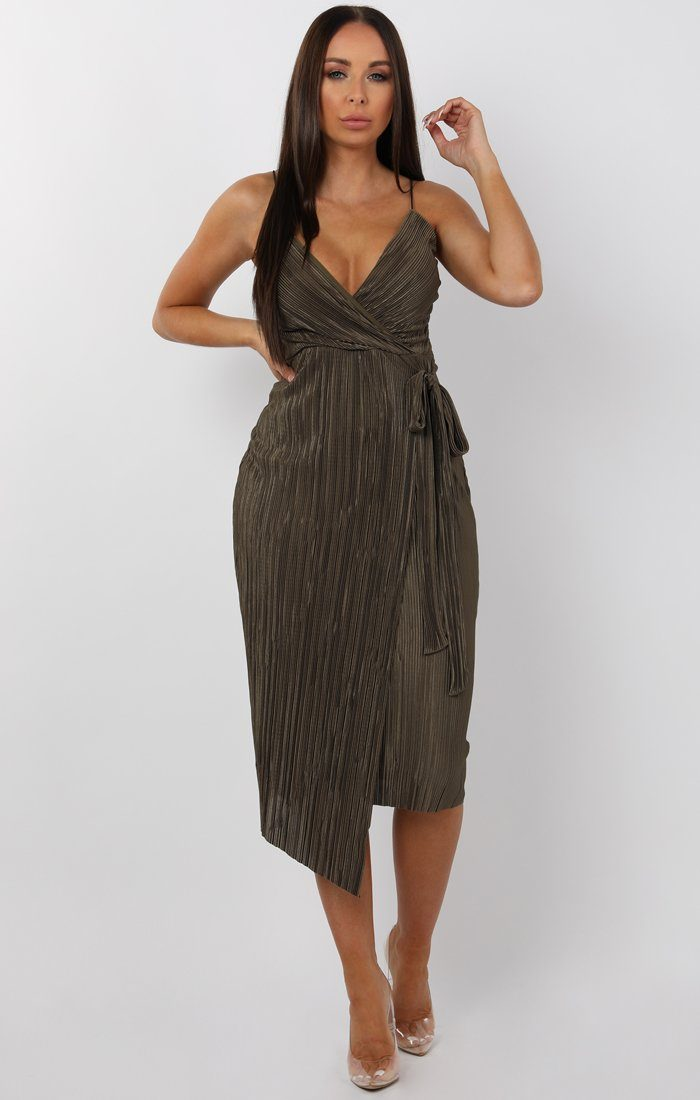 Khaki-Cami-Pleated-Wrap-Midi-Dress-Dolly