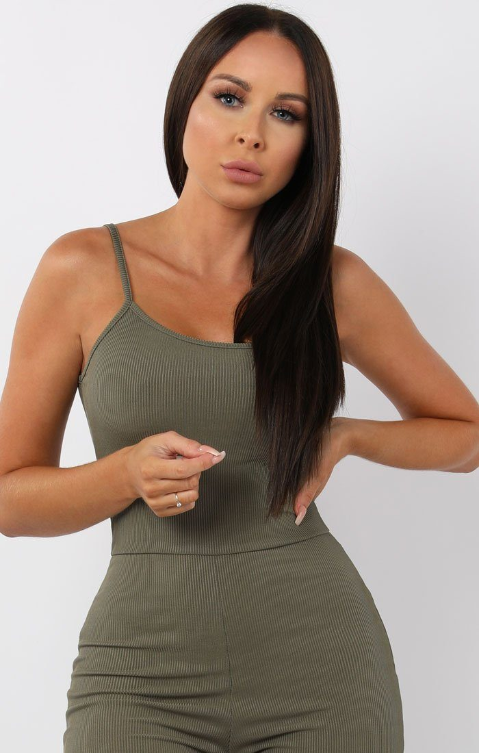 Khaki Cami Ribbed Jumpsuit - Lolly