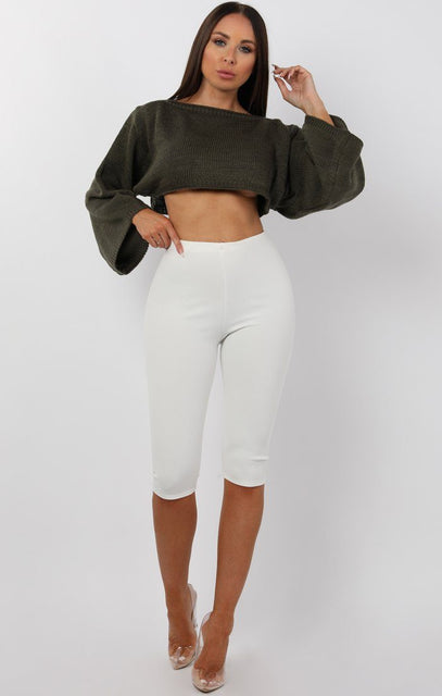 Khaki Cropped Flare sleeve Knitted Jumper - Judy