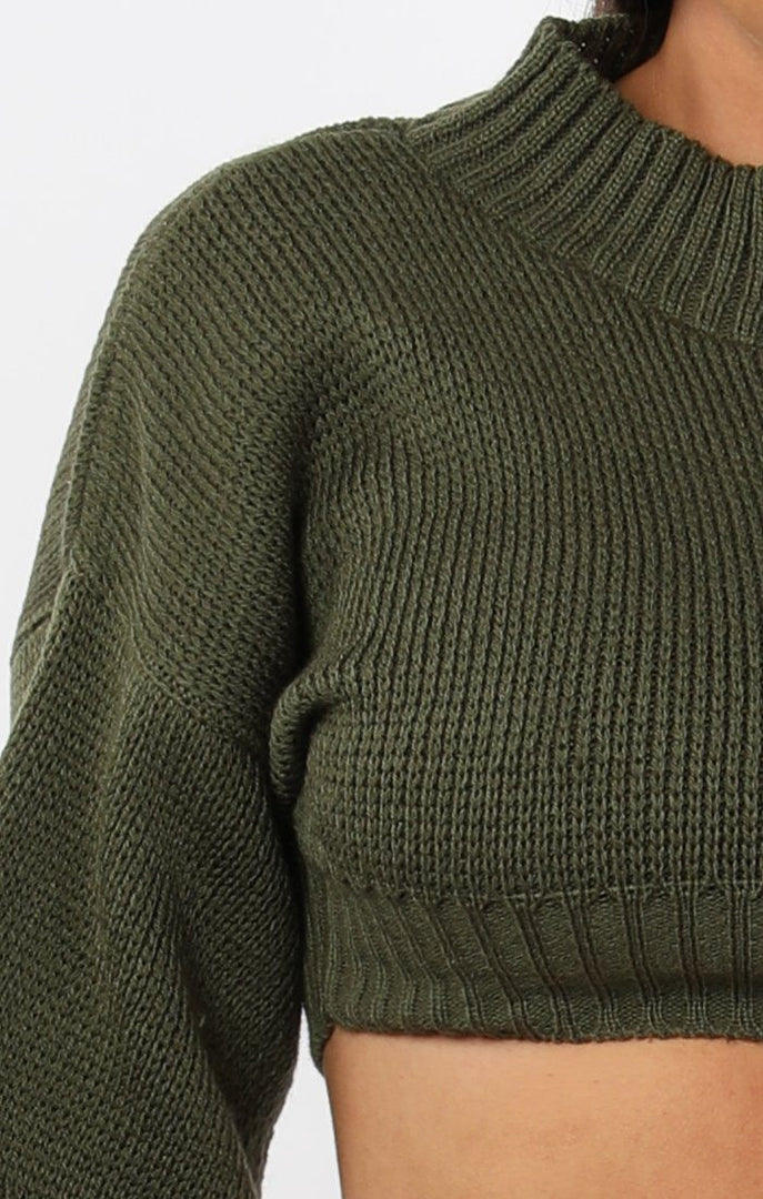 Khaki-Cropped-Knitted-Jumper-Miah