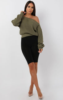 Khaki-Off-Shoulder-Knitted-Jumper-Aspen