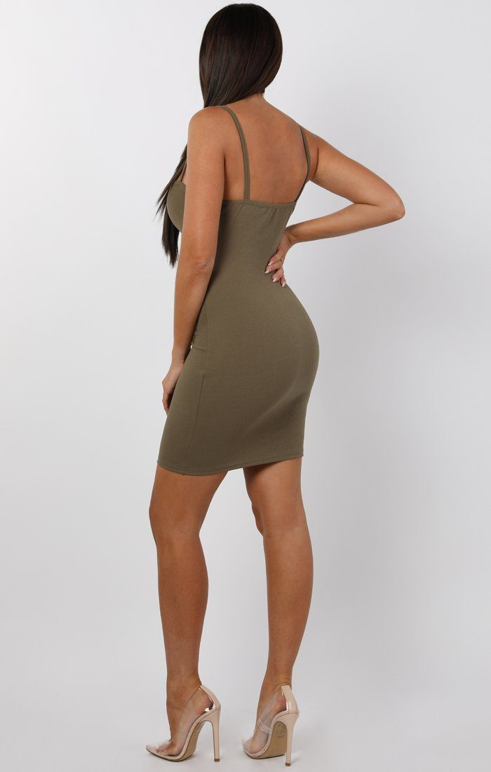 Khaki Tie Front Button Mini Dress - Erin