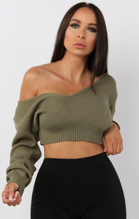 Khaki-V-Neck-Cropped-Jumper-Cordelia