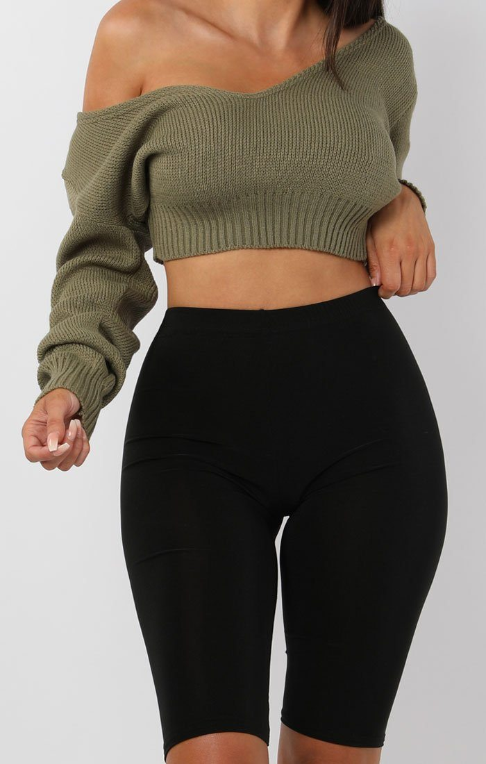 Khaki V-Neck Cropped Jumper - Cordelia