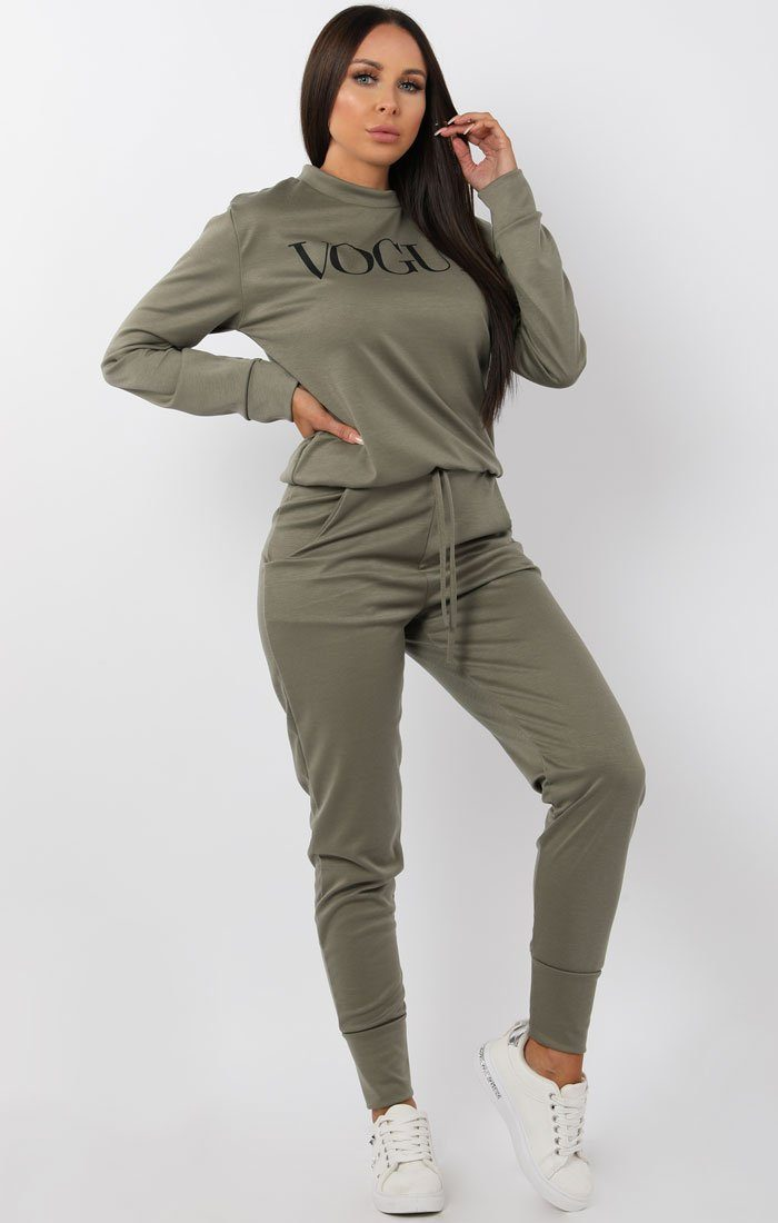 Khaki Vogue Print loungewear set - Miley loungewear FemmeLuxe
