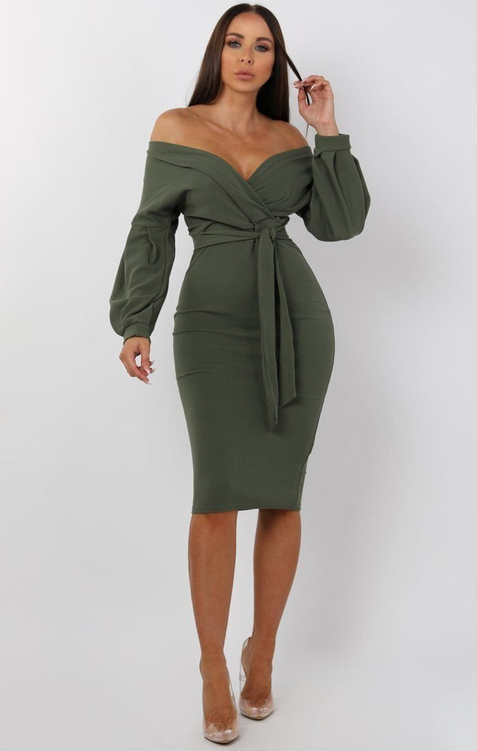 Khaki Belted Bodycon Midi Dress - Angelica
