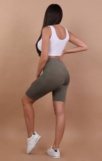 Khaki cropped basic leggings - Roxanne