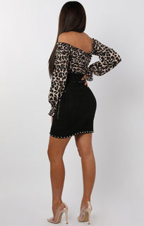 Leopard-Print-Bardot-Ruched-Sleeve-Crop-Top-Emily
