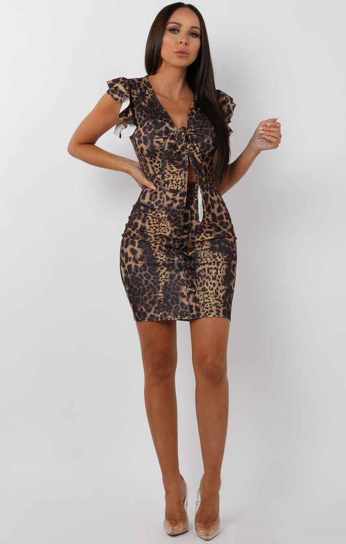 Animal Leopard Print Bow Front Cut Out Mini Dress - Taliha
