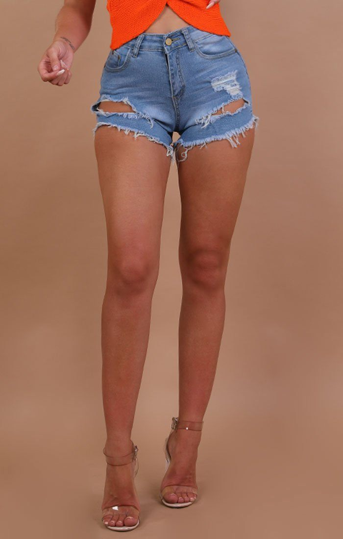 Light Blue Distressed Denim Shorts - Addison