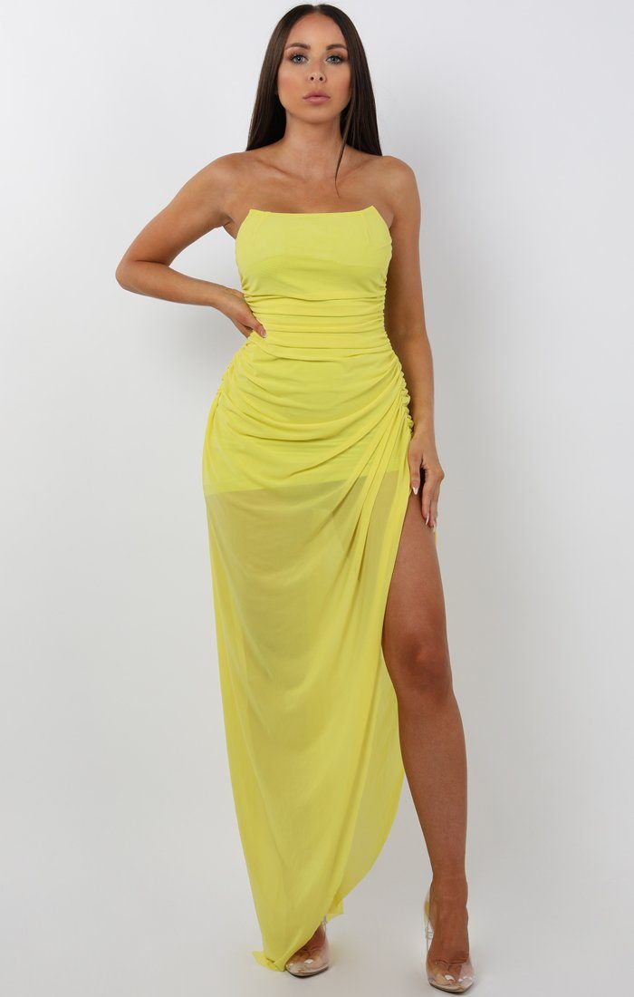 Lime Bandeau Split Leg Ruched Maxi Dress - Tanya