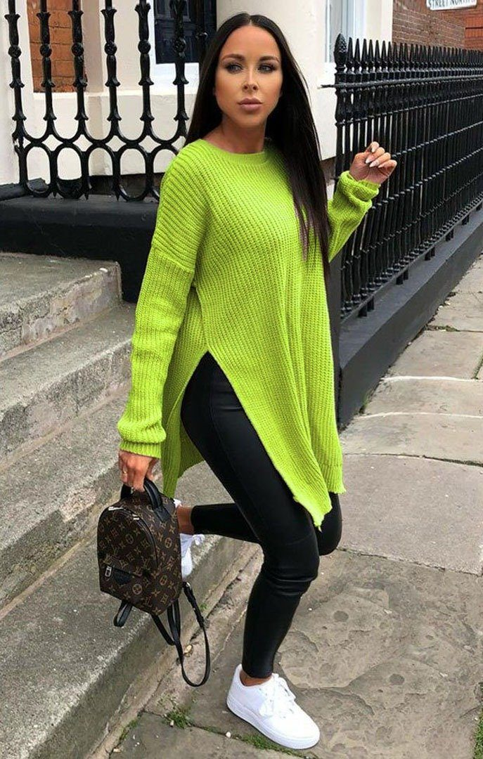 Lime-Oversized-Split-Side-Knitted-Jumper-Lore