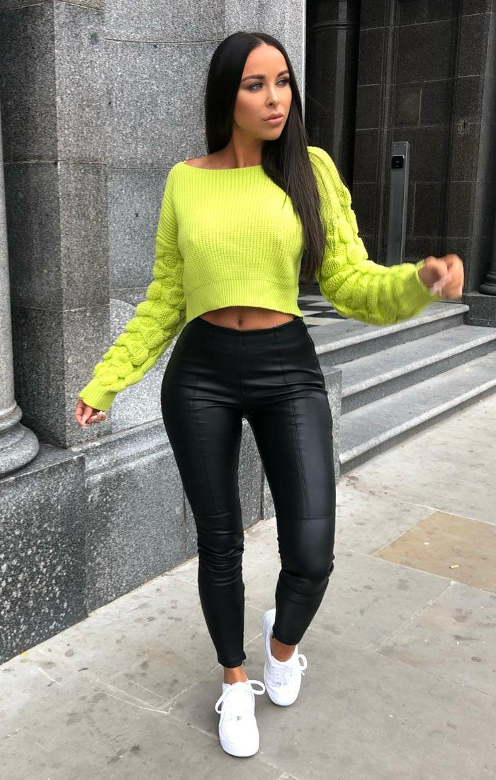 Lime Ribbed Bobble Stitch Knitted Jumper - Maisie