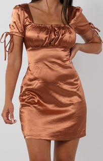 Metallic Copper Bodycon Mini Dress - Zoe