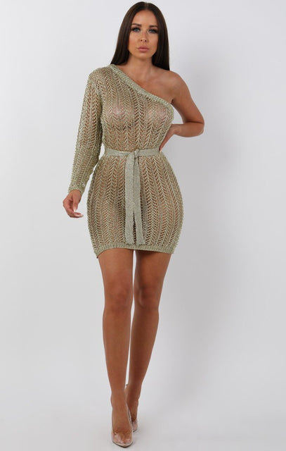 Metallic Knit Gold One Shoulder Mini Dress -Tessa