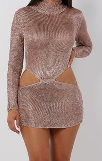 Metallic Knit Rose Gold Cut Out High Neck Mini Dress - Eva