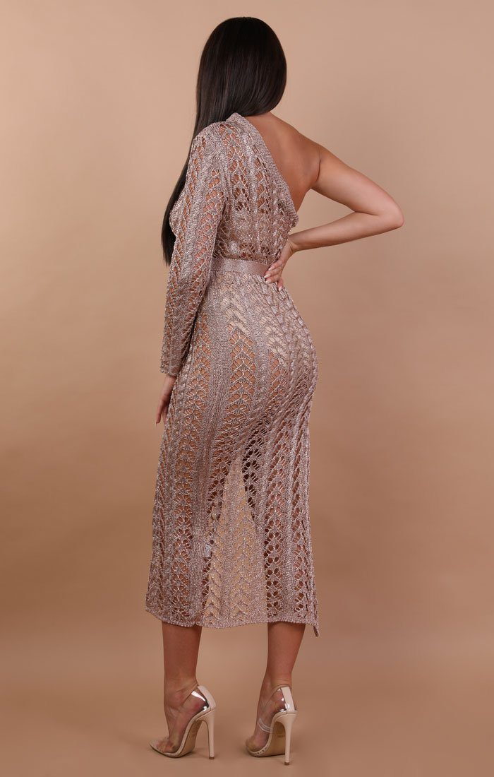 Metallic Knit Rose Gold One Shoulder Midi Dress - Hope