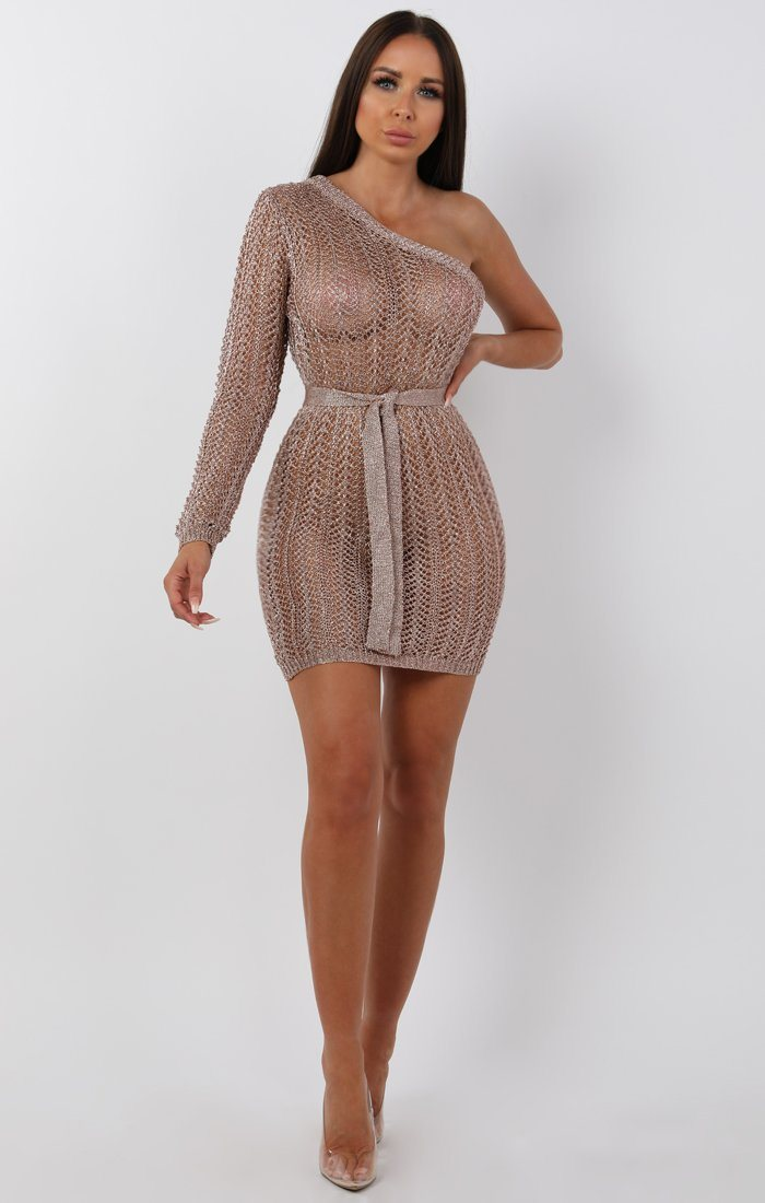 Metallic Knit Rose Gold One Shoulder Mini Dress -Tessa