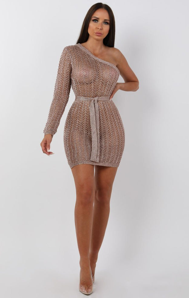 Metallic-Knit-Rose-Gold-One-Shoulder-Mini-Dress-Tessa