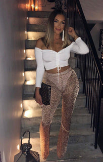 Metallic Knit Rose Gold Trousers - Inaaya