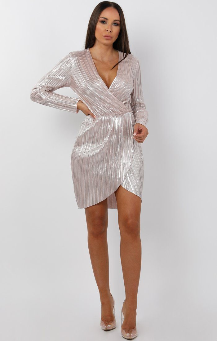 Metallic Silver Pleated Wrap Dress - Violet
