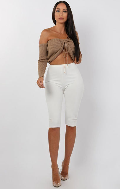 Mocha Ribbed Bardot Ruched Front Crop Top - Lea