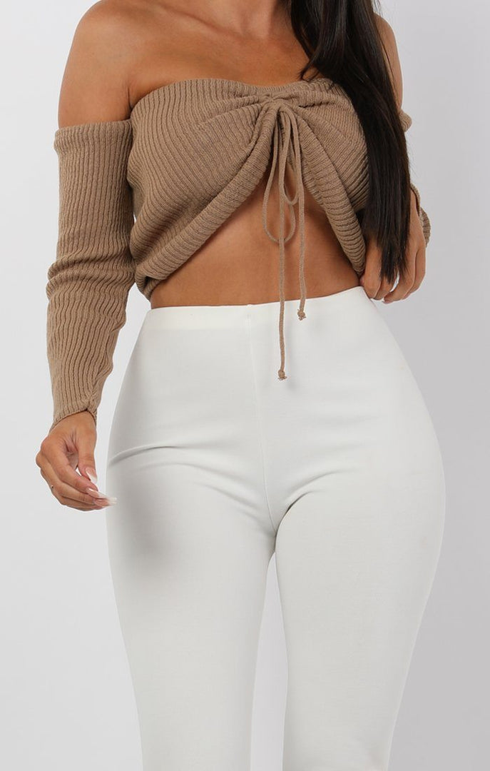 Mocha-Ribbed-Bardot-Ruched-Front-Crop-Top-Lea