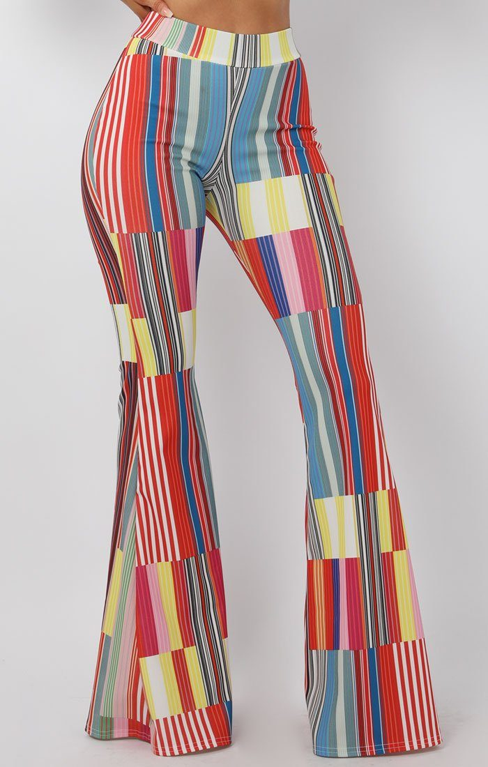 Multicolour Stripe Flared Trousers - Olivia