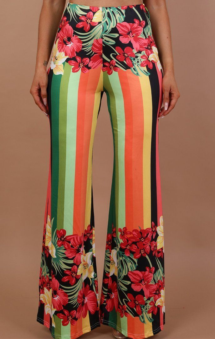 Striped Floral Wide Leg Trousers - Cynthia