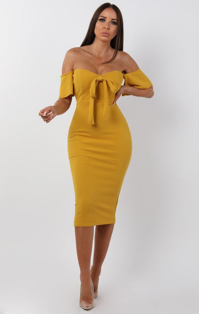 Mustard Bardot Bow Front Midi Dress - Effie