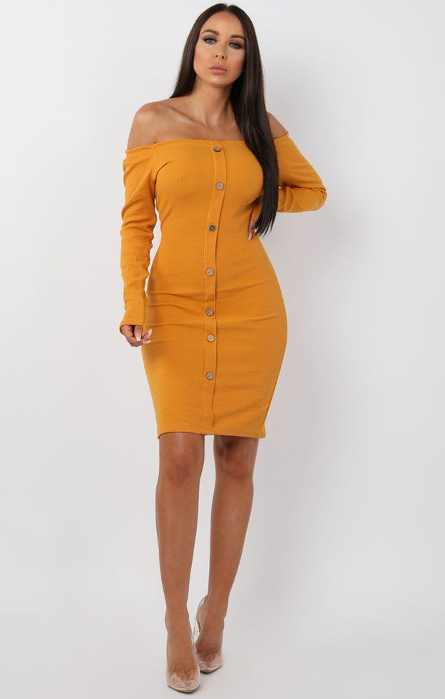 Mustard-Bardot-Button-Front-Bodycon-Dress-Lyric