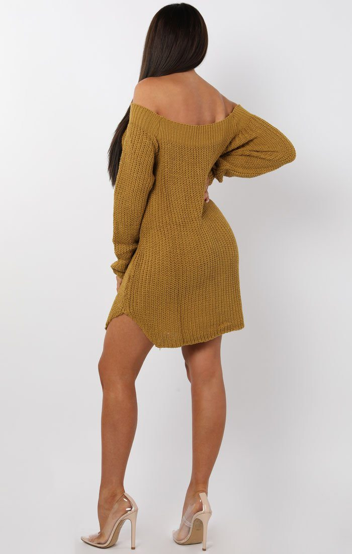 Mustard Bardot Button Knit Jumper Dress - Mercy