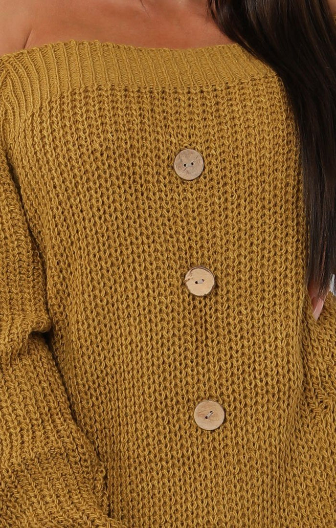 Mustard-Bardot-Button-Knit-Jumper-Dress-Mercy