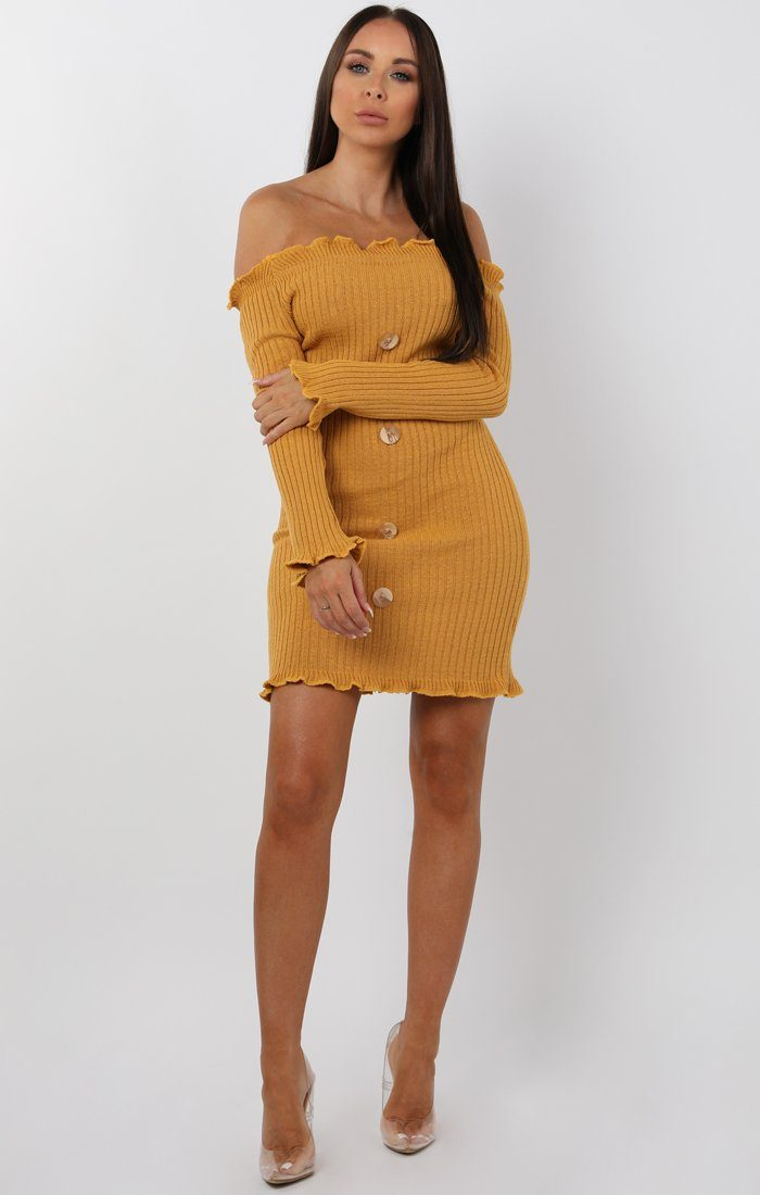 Mustard Bardot Frill Button Mini Dress - Trudy
